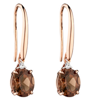 Elements Rose Gold Oval Smokey Quartz earrings GE2275y