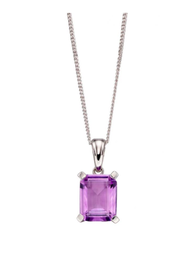 Elements White Gold Amethyst Rectangle Pendant