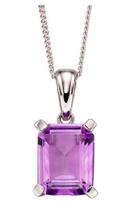 Elements White Gold Amethyst Rectangle Pendant GP2168M
