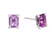 Elements White Gold Amethyst Rectangle Stud Earrings GE2288M