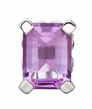 Elements White Gold Amethyst Rectangle Stud Earrings