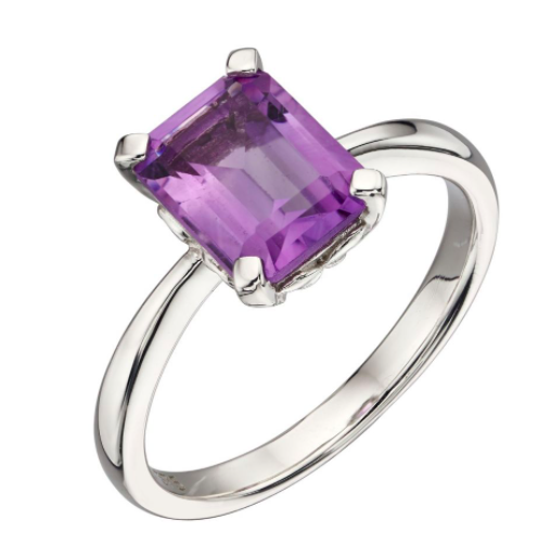 Elements White Gold Amethyst Rectangle Ring GR564M