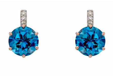 Elements Rose Gold London Blue Topaz & Diamond Solitare Stud Earrings GE2282L