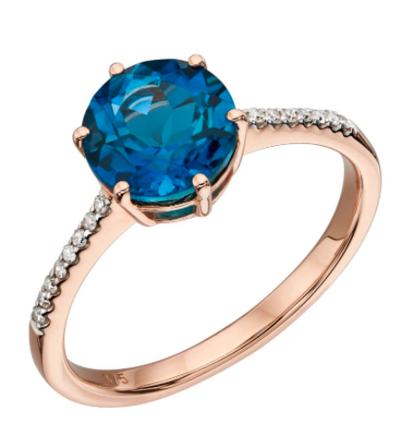 Elements Rose Gold London Blue Topaz & Diamond Solitare Ring GR561L