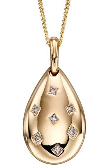 Elements Yellow Gold & Diamond Starburst Tear Drop Pendant