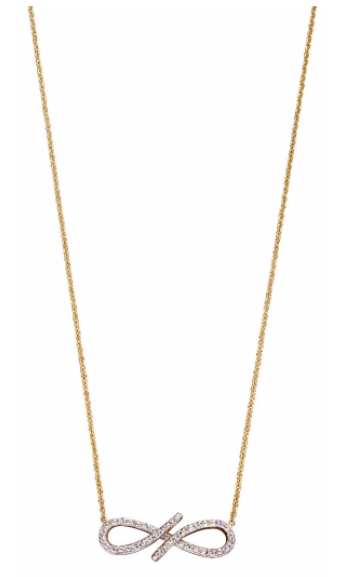 Elements Yellow Gold & Diamond Infinity Necklace GN336