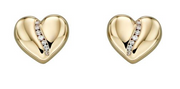 Elements Yellow Gold & Diamond Channel Heart Stud Earrings GE2305