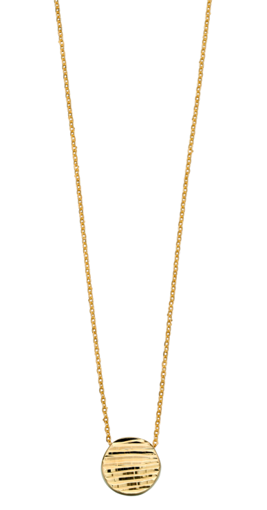 Elements Yellow Gold Lined Textured Necklace