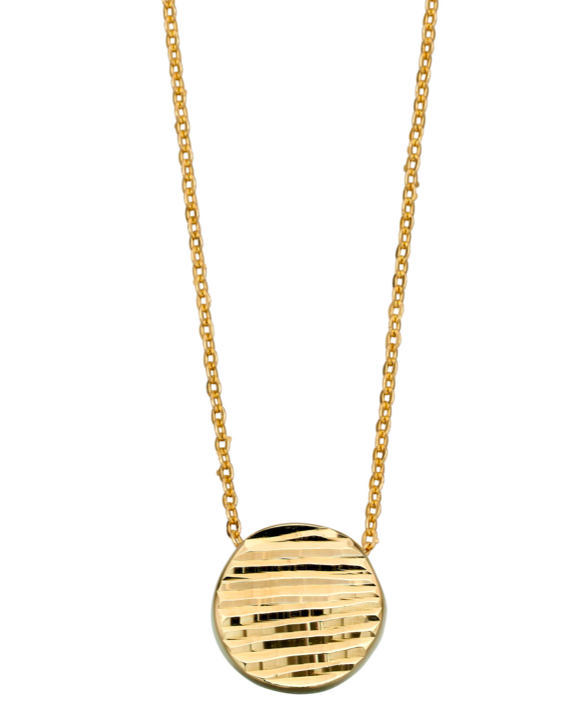 Elements Yellow Gold Lined Textured Necklace GN329