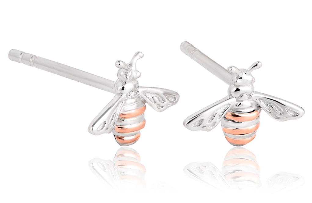Clogau Welsh rose gold and Silver Honey Bee stud earrings 3SHNBE