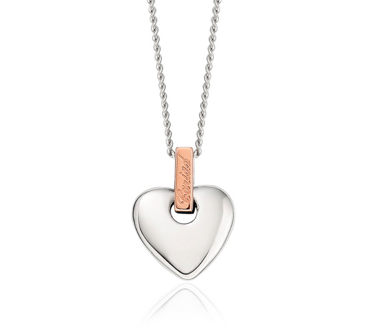 Clogau Welsh rose gold and Silver Cariad Heart Pendant 3SCA012