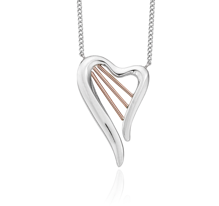 Clogau Welsh rose gold and Silver Heartstrings Harp Necklace 3SHSN