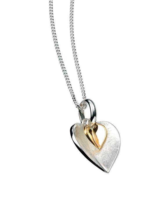Elements Silver & Gold Double Heart Pendant P3791
