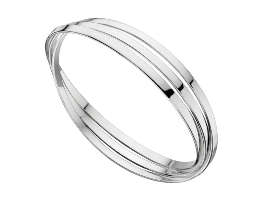 Elements Silver Triple Russian Band Bangles B4587