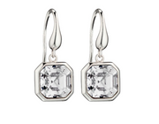 Elements Silver Square Swarovski Crystal Drop Earrings e5813c