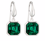 Elements Silver Square Emerald Green Swarovski Crystal Drop Earrings e5814g