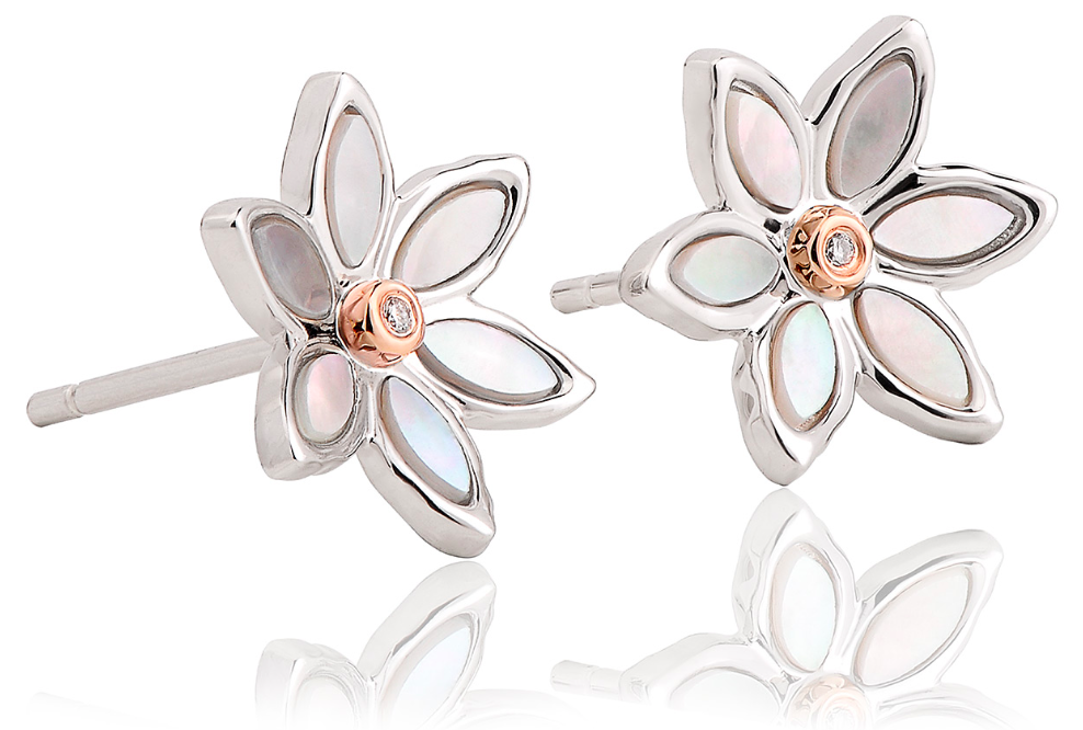Clogau Lady Snowdon Mother of Pearl Flower Stud Earrings 3snle