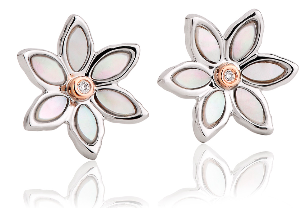 Clogau Lady Snowdon Mother of Pearl Flower Stud Earrings