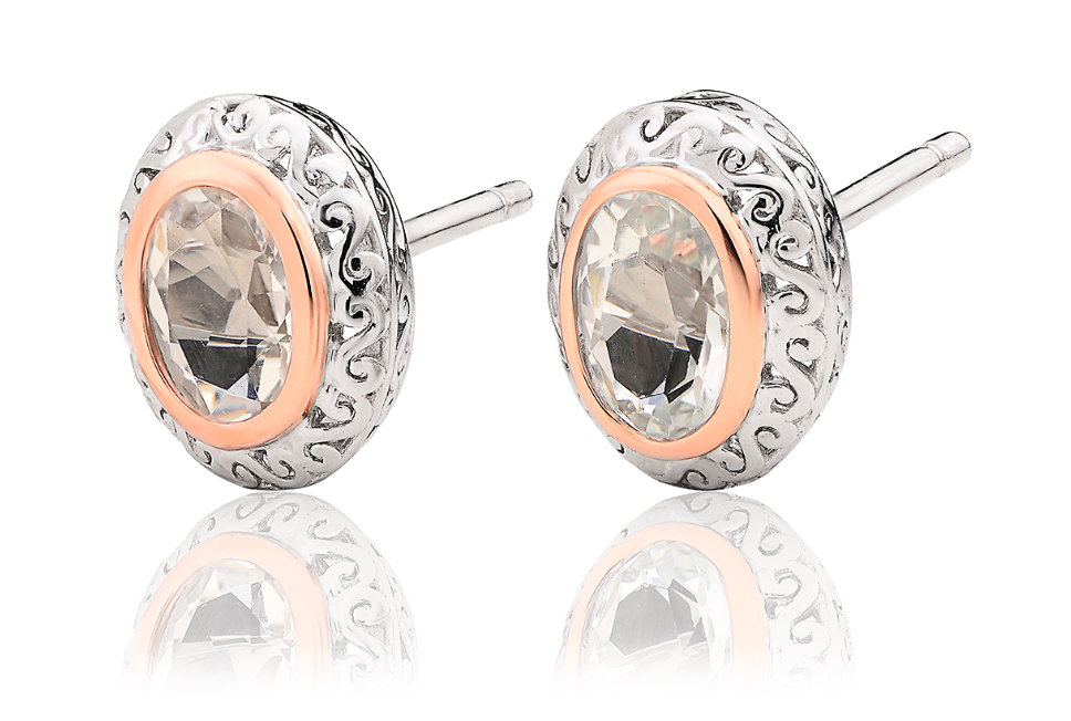 Clogau Gold Looking Glass White Topaz Stud Earrings 3SALWSE3