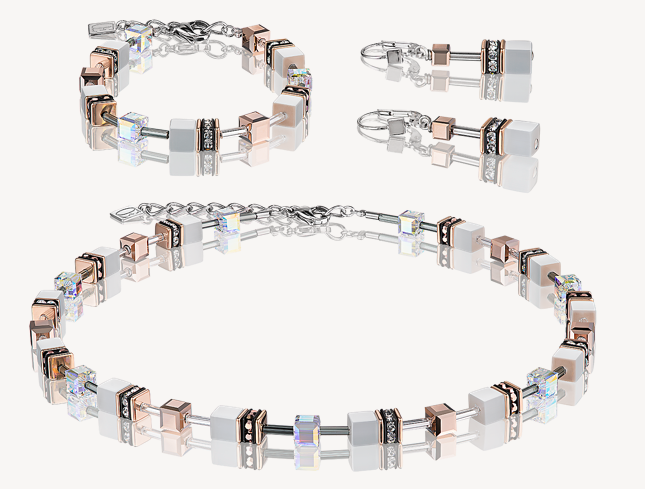 Coeur De Lion White & Rose Gold GeoCUBE Necklace