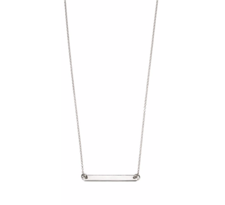 Silver Long ID Bar Necklace n4045