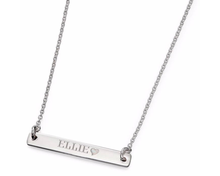 Silver Short ID Bar Necklace