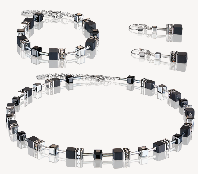 Coeur De Lion Onyx Black & Silver GeoCUBE Necklace