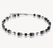 Coeur De Lion Onyx Black & Silver GeoCUBE Necklace 4018101317