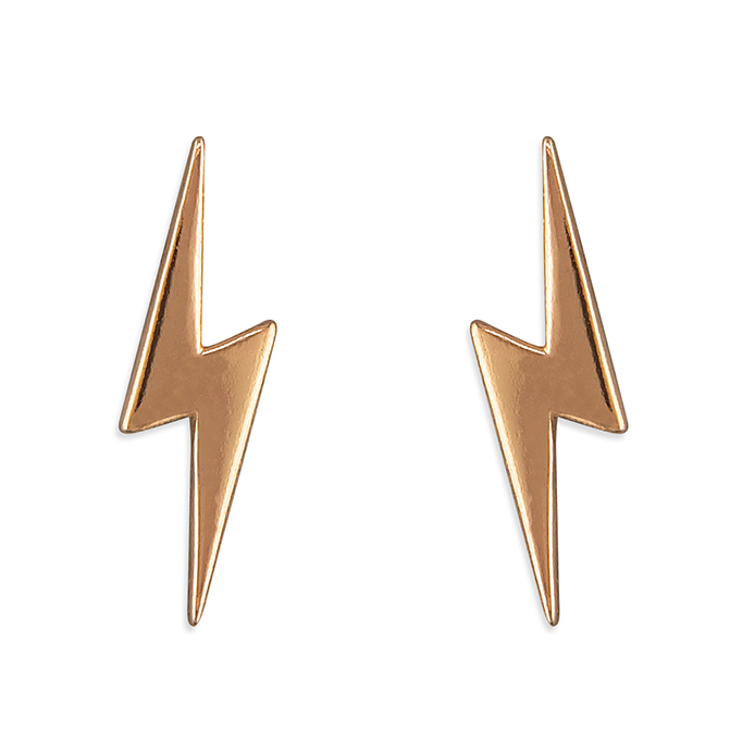Rose Gold Lightning Bolt Stud Earrings