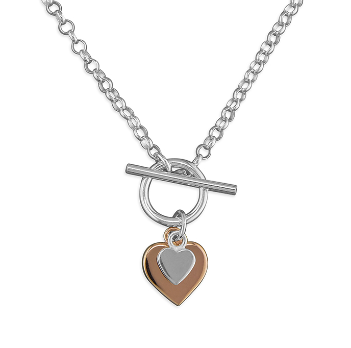 Silver & Rose Gold 2 Hearts T-Bar Necklace