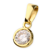 Yellow Gold Round CZ Pendant