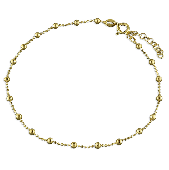 Yellow Gold Beaded Chain Ankle Bracelet