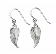 Silver Small Feather Drop Earrings e4609
