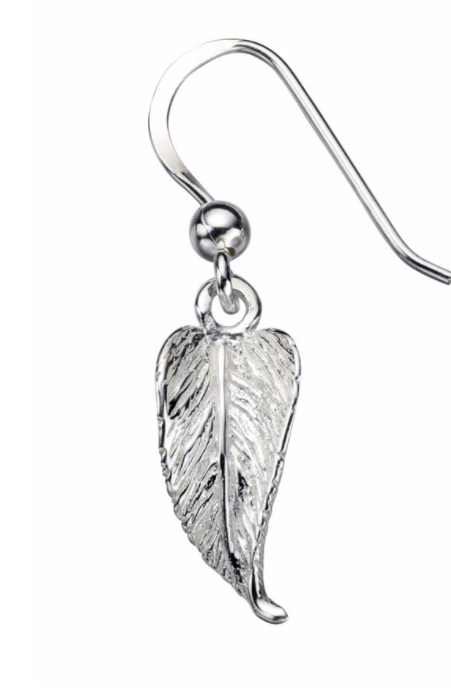Silver Small Feather Drop Earrings
