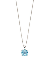 Elements Blue Topaz Cushion Pendant