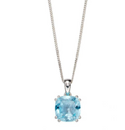 Elements Blue Topaz Cushion Pendant P4861T