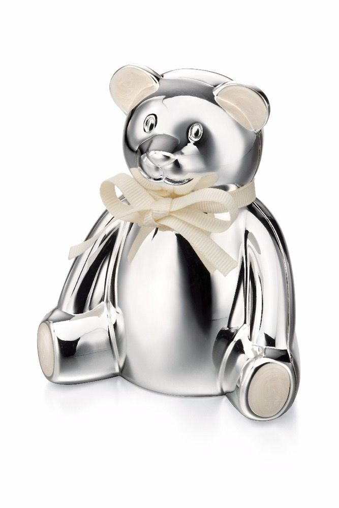 Silver Teddy Bear Money Box