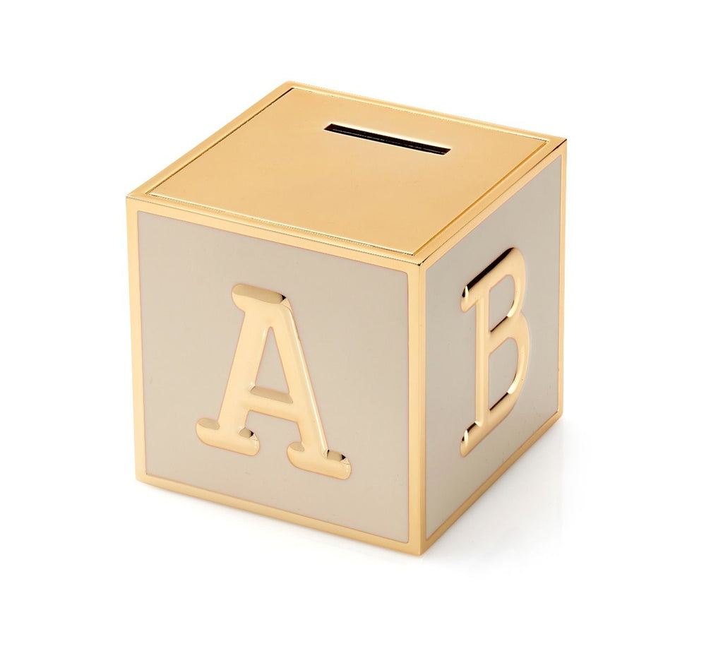 Gold ABC Christening Money Box