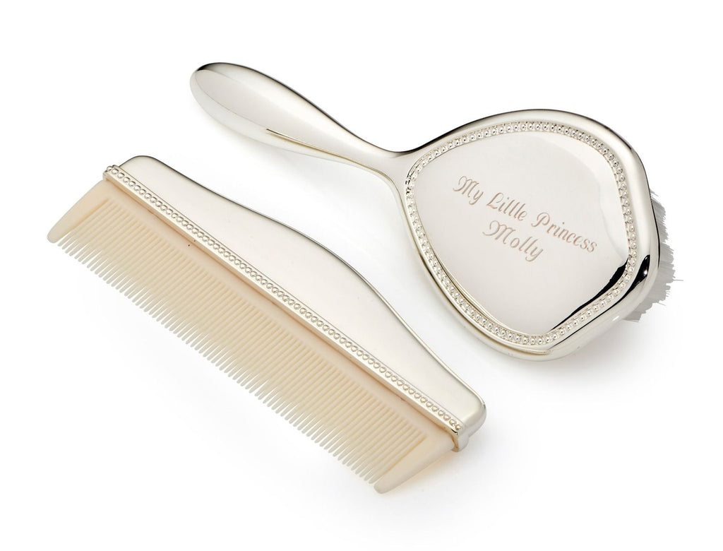 Silver Christening Comb & Brush Set