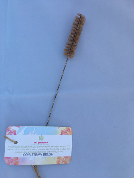 Natural Fibre Brush for cleaning drinking Straws made from Coconut/coir fibre