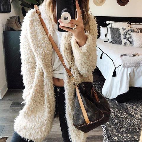 Kia Faux Fur Coat - Beige