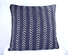 19 x 19 African Mudcloth Pillow Cover - Black Chevron