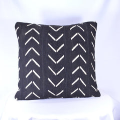 19 x 19 African Mudcloth Pillow Cover - Black Chevron L