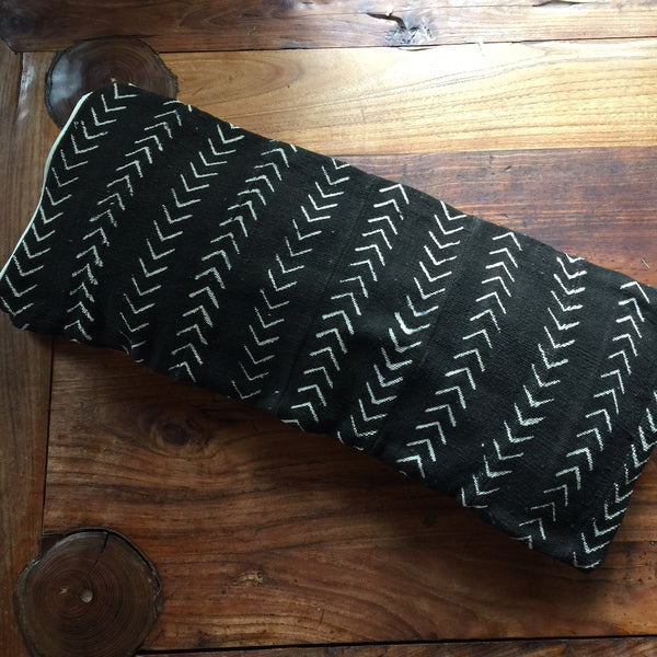 12 x 26 African Mudcloth Pillow Cover - Black Chevron
