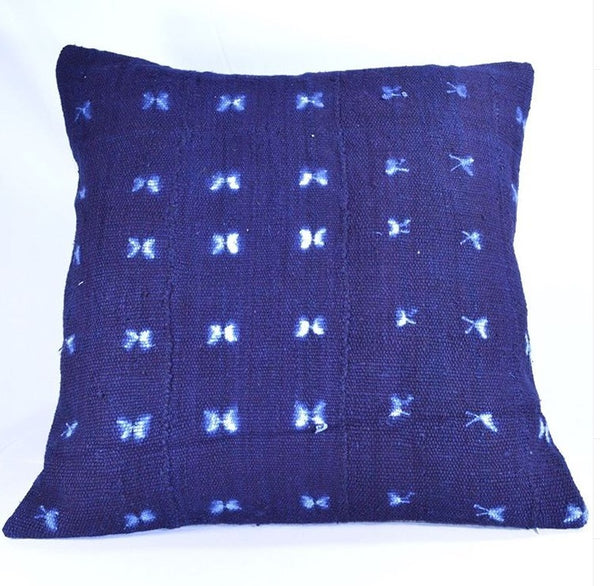 19 x 19 African Mudcloth Pillow Cover - Indigo
