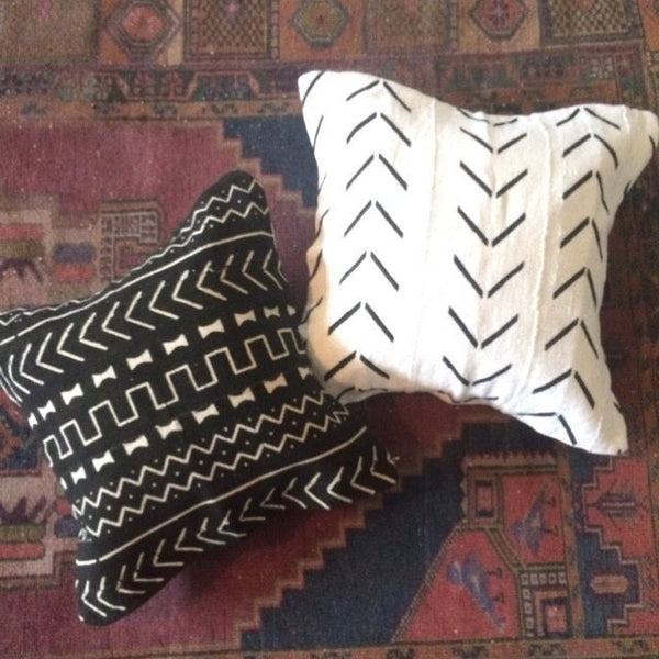 19 x 19 African Mudcloth Pillow Cover - White Chevron L