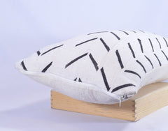 12 x 26 African Mudcloth Pillow Cover - White Chevron