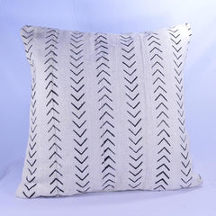 19 x 19 African Mudcloth Pillow Cover - White Chevron