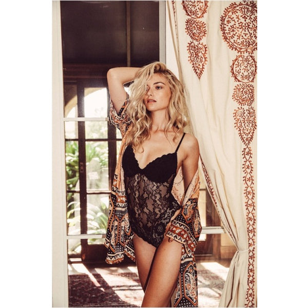 Willow Lace Bodysuit in Black