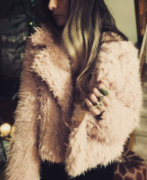 Shaggy Crop Jacket in Dusty Pink